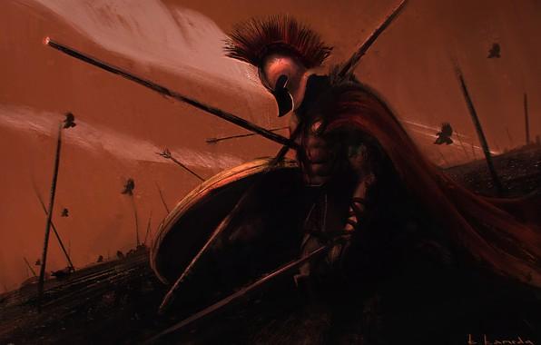 Картинка Воин, Спарта, Арт, Живопись, Art, Warrior, Спартанец, by Kentaro Kameda, Kentaro Kameda