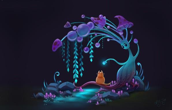 Картинка кот, ночь, фэнтези, арт, детская, Anna Kummer, Curious cat