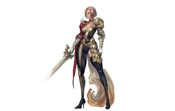 Картинка girl, sword, fantasy, cleavage, armor, minimalism, weapon, breast, Warrior, digital art, artwork, fantasy art, chest, …