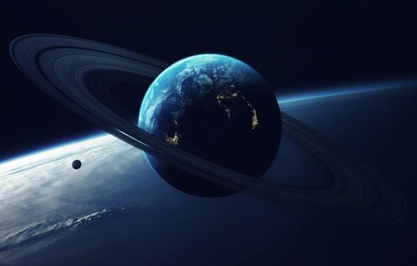 Картинка Планета, Космос, Свет, Кольцо, Арт, Art, Спутник, Vadim Sadovski, by Vadim Sadovski, Close orbit, Гигантская …