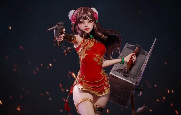 Картинка оружие, аниме, арт, Chen, HyungJin Yang
