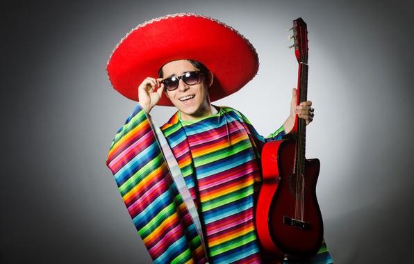 Картинка поза, фон, гитара, шляпа, очки, наряд, мужчина, парень, мексиканец, самбреро