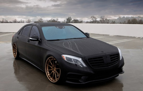 Картинка Mercedes-Benz, Black, Matte, S550, Matte Black Mercedes-Benz S550