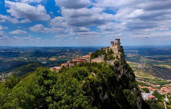 Картинка скала, гора, крепость, Сан-Марино, Гуаита