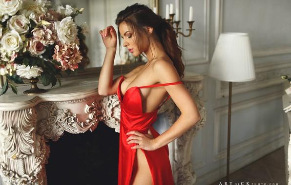 Картинка девушка, цветы, поза, руки, разрез, камин, красное платье, торшер, Степан Квардаков, Юлия Зубова