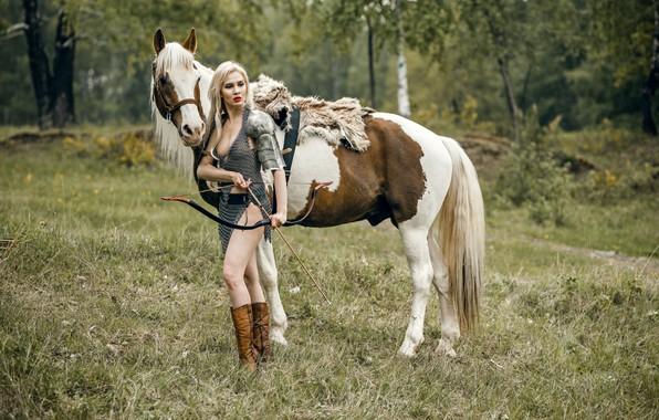 Картинка девушка, конь, воин, лук