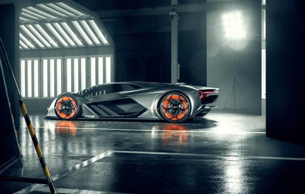 Фото обои Lamborghini, суперкар, вид сбоку, Terzo Millennio