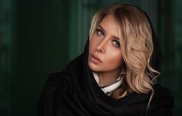 Картинка взгляд, девушка, лицо, фон, волосы, портрет, шаль, Ирина, Андрей Вечкензин