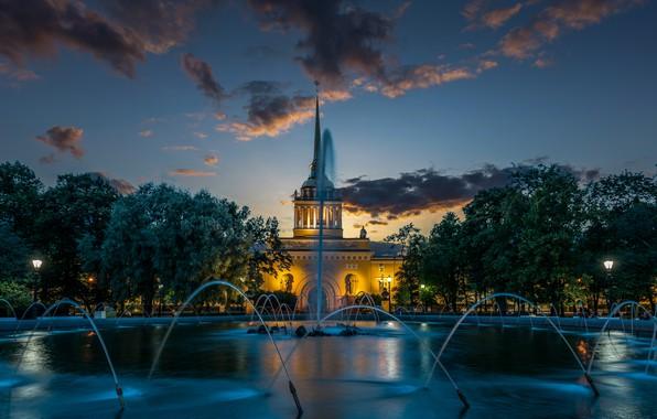Картинка деревья, здание, Санкт-Петербург, фонтан, Россия, Александровский сад, Главное Адмиралтейство