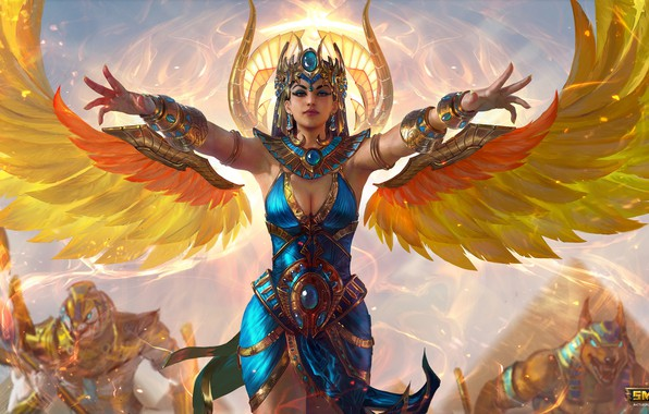 Картинка девушка, крылья, фэнтези, Smite