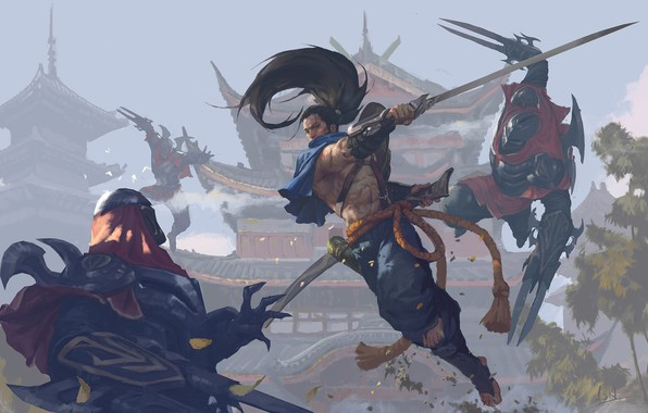 Картинка sword, fantasy, game, weapon, fight, battle, League of Legends, samurai, digital art, artwork, warriors, fantasy …