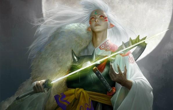 Картинка ночь, сияние, катана, доспехи, демон, полнолуние, art, смотрит вверх, Inuyasha, Инуяша, Sesshomaru, длинные белые волосы, …