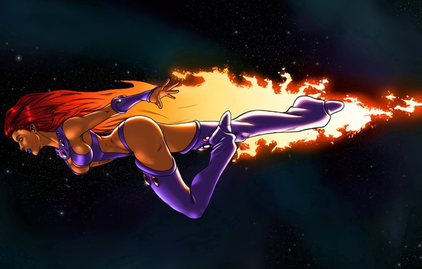 Картинка девушка, космос, полёт, art, cosmos, fly, DC Comics, Starfire, Кори Андерс