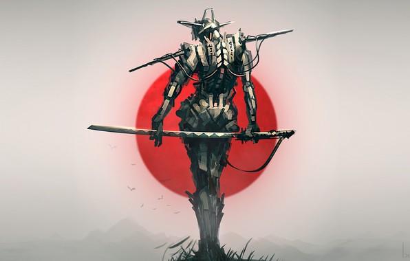 Картинка Japan, sword, fantasy, robot, weapon, katana, birds, sun, digital art, artwork, Samurai, warrior, fantasy art, …
