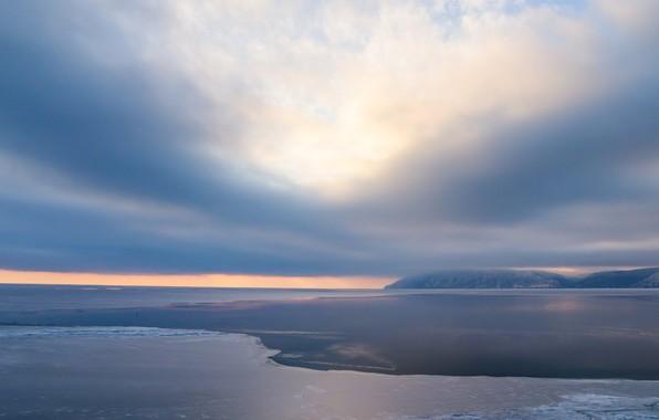 Картинка лед, зима, облака, Байкал, ice, winter, lake, Baikal, Евгений Макаров