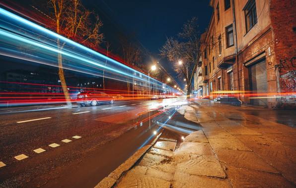 Картинка ночь, город, огни, улица, Lietuva, Kaunas