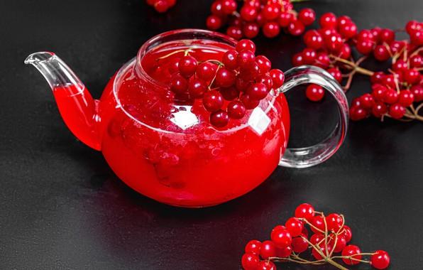 Картинка ягоды, чайник, напиток, калина