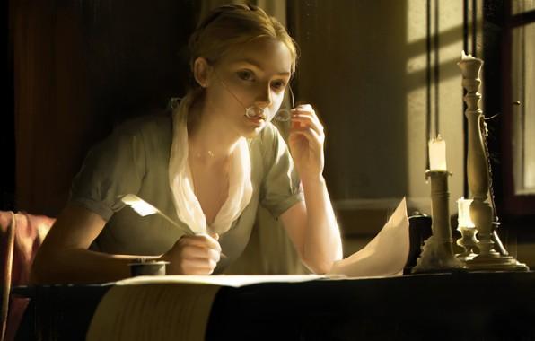 Картинка девушка, перо, свеча, арт, jingyu shen