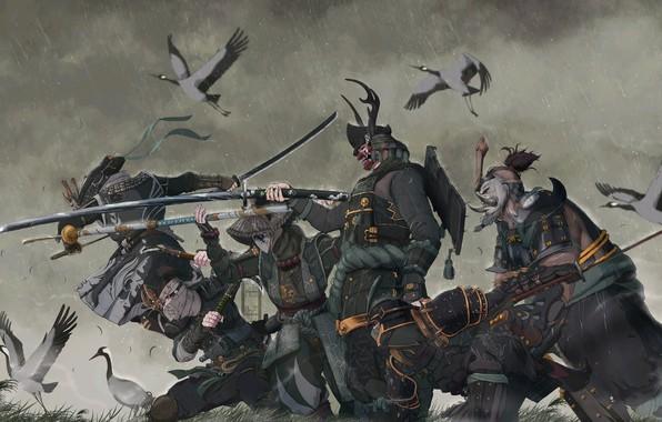 Картинка fantasy, rain, armor, katana, birds, weapons, digital art, artwork, mask, warriors, Samurai, swords, fantasy art, ...