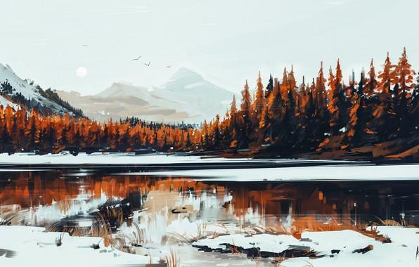 Картинка Природа, Зима, Рисунок, Озеро, Снег, Лес, Serenity, Aenami, by Aenami, Alena Aenami, by Alena Aenami, …