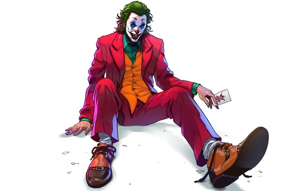 Картинка взгляд, поза, арт, Джокер, белый фон, Joker