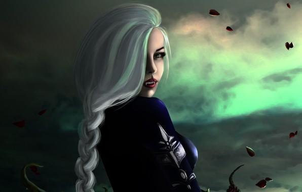 Картинка взгляд, девушка, фэнтези, арт, блондинка, клыки, вампирша