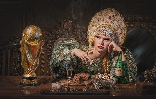 Картинка девушка, ситуация, хлеб, водка, пепельница, кубок, кокошник, царевна, окурки, Сергей Рехов, рюмка водки, Так Франция …