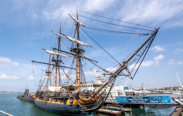Картинка небо, корабль, мачты