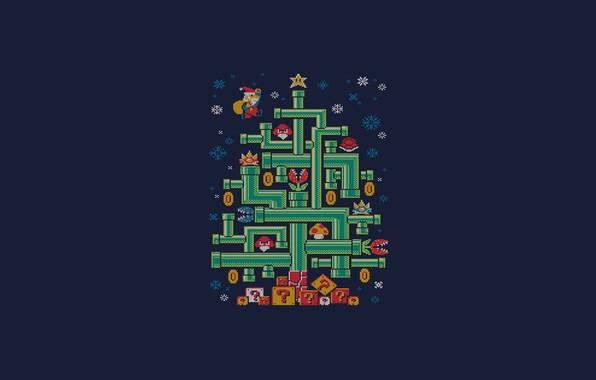Картинка Минимализм, Марио, Новый год, Елка, Арт, Ёлка, Tree, New Year, Super Mario, Трубы, Djkopet, By …