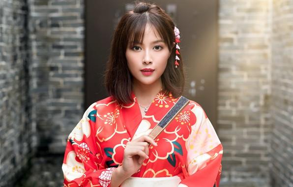 Картинка девушка, веер, кимоно, азиатка, милашка