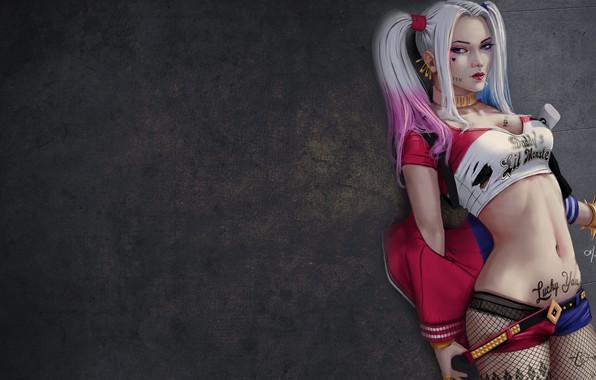 Картинка DC Comics, Harley Quinn, fishnet, collar, baseball bat, superheroine