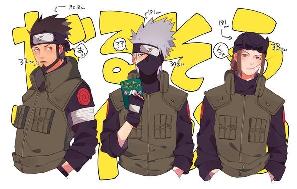 Картинка сигарета, книга, борода, друзья, жилет, ниндзи, Sarutobi Asuma, Hatake Kakashi, Naruto Shippuden, три парня, руки …