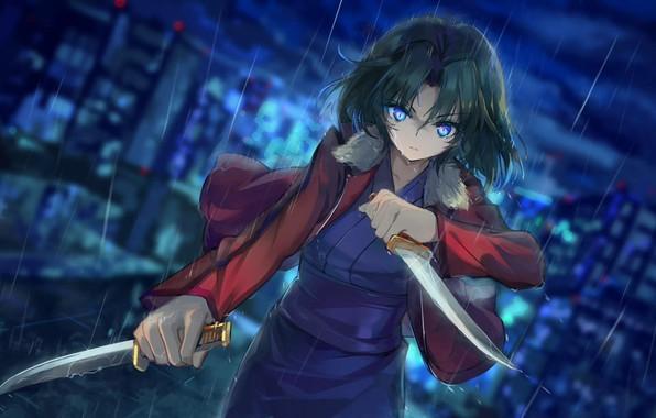 Картинка лезвия, убийца, кинжалы, злобный взгляд, Shiki Ryougi, Сад грешников, Kara no Kyokai, проливной дождь, темная …