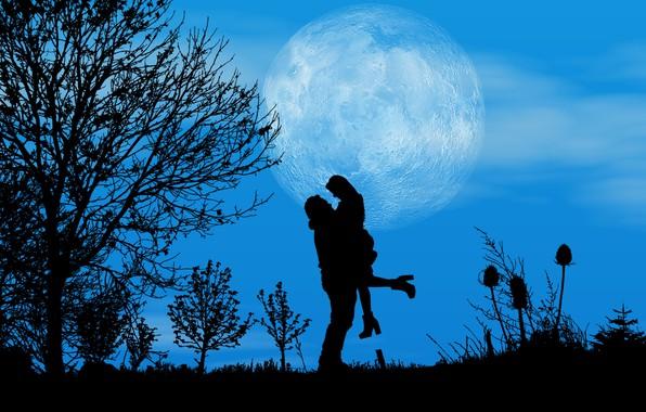 Картинка ночь, луна, романтика, пара, силуэты, свидание