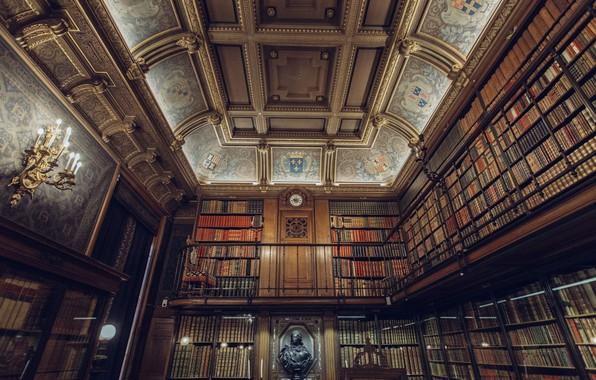 Картинка часы, книги, свечи, потолок, библиотека, бюст