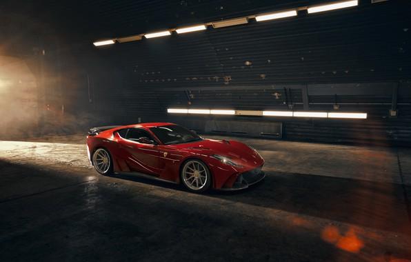 Картинка фары, ангар, Ferrari, спорткар, Superfast, 812, Novitec N-Largo