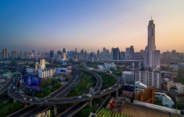 Картинка город, утро, Тайланд, Бангкок