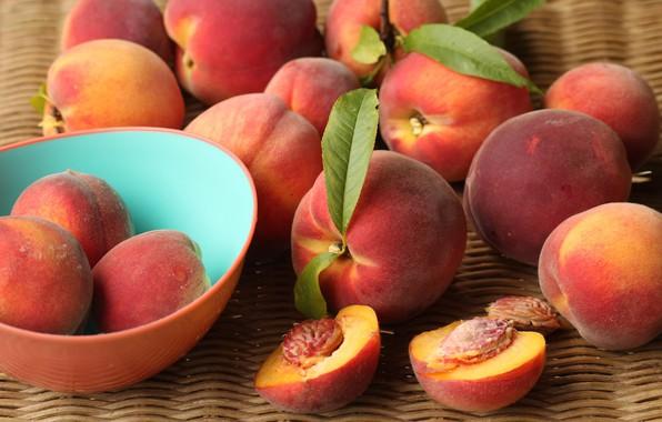 Картинка еда, урожай, чашка, миска, фрукты, листочки, персики, много, спелые, пиала