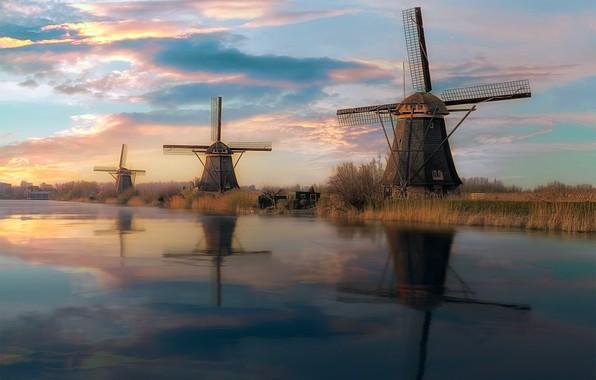 Картинка мельницы, Netherlands, Kinderdijk