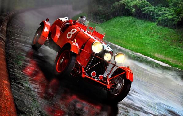 Картинка Rapide, Дождь, Lagonda, M45, 1935, автомобильная дорога