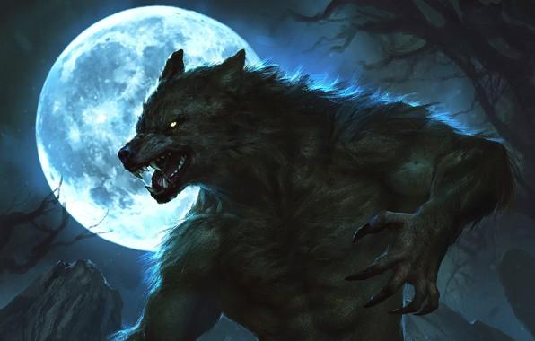 Картинка ночь, луна, когти, moon, оборотень, ликантроп, night, wolf, lycan, werewolf