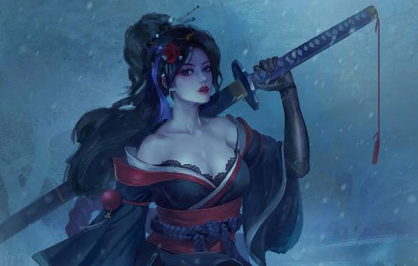 Картинка холод, цветок, взгляд, девушка, снег, оружие, фэнтези, арт