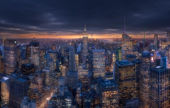 Картинка город, огни, дома, вечер, США, Нью Йорк, New York, Нью - Йорк, New - York