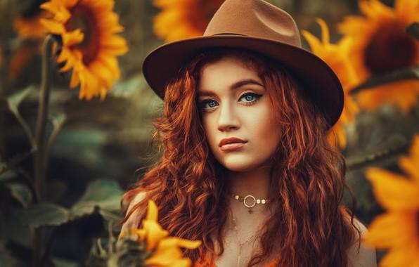 Картинка взгляд, подсолнухи, Девушка, шляпа, рыжая