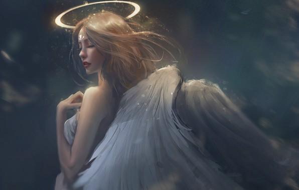 Картинка сияние, серый фон, нимб, angel, оперение, закрытые глаза, белые крылья, вполоборота, плечико, девушка-ангел, by Trung …