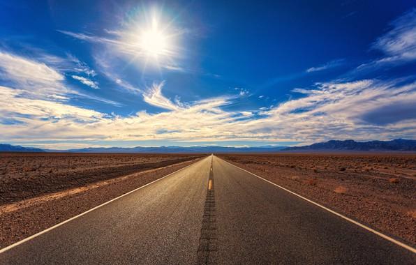 Картинка Солнце, Облака, Дорога, Горы, Горизонт, Пустыня, Асфальт, Путь, Clouds, Horizon, Landscape, Sun, Mountains, Road, Highway, …