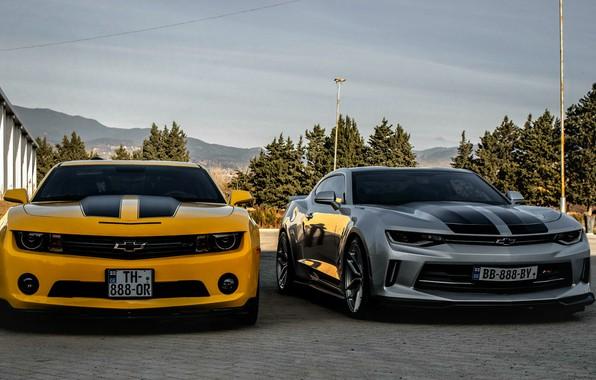 Обои Chevrolet, Camaro, georgia, old, new, Orang, Silver, tbilisi, best cars