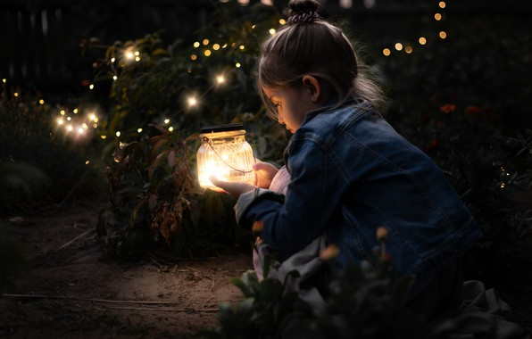 Картинка светлячки, огоньки, девочка, банка
