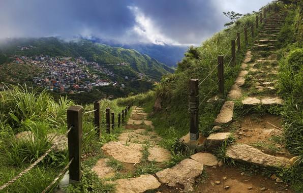 Картинка дорога, город, лестница