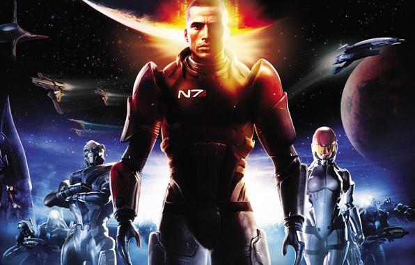 Картинка фантастика, game, John Shepard, Джон Шепард, BioWare, Mass Effect, fantastic, Жнецы, Garrus Vakarian, Ashley Williams, …